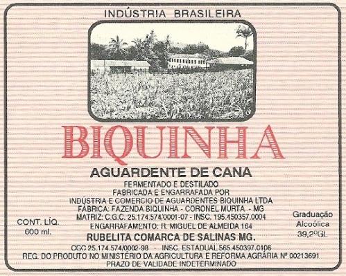 Cachaça Biquinha.