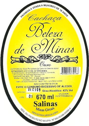 Cachaça Beleza de Minas.